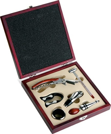 Set regalo per vino in elgante scatola in legno con accessori vino -