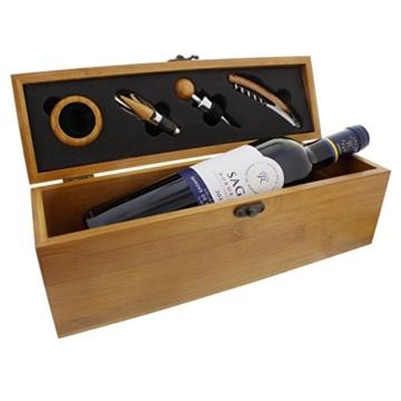 Sommelier-Set Rothschild in Bambus-Optik mit Personalisierung - 1 Flasche Französischer Rotwein mit Zubehör und Gravur als edles Weihnachtsgeschenk -