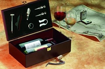 Sommelierset für 2 Weinflaschen Weinset Weingarnitur Weinbox Dekantierset Geschenkset mit Holzkoffer und Weinthermometer, Kellnermesser, Metallausgießer, Tropfring, 2 Flaschenverschlüssen und Flaschenhalsschneider -