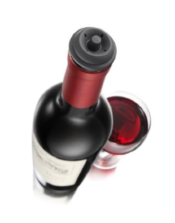 Vacu Vin Weinpumpe Concerto mit 4 x Stopfen - Schwarz -