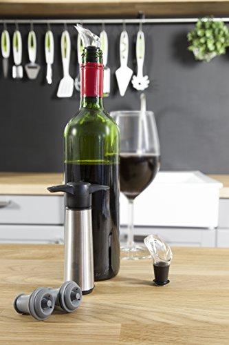 Vacu Vin Weinpumpe mit 2 x Stopfen und 2 x Weinausgießern - Edelstahl -