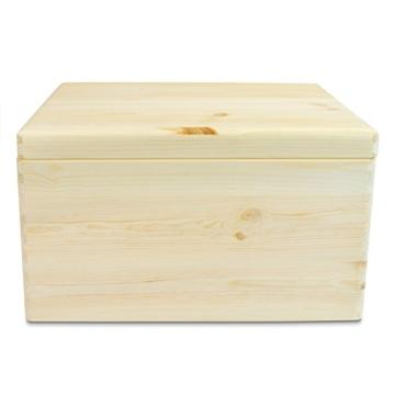 VENKON - Universal Holzkiste mit Deckel für Aufbewahrung - Kiefer naturbelassen unbehandelt - ca. 40 x 30 x 23,5 cm -