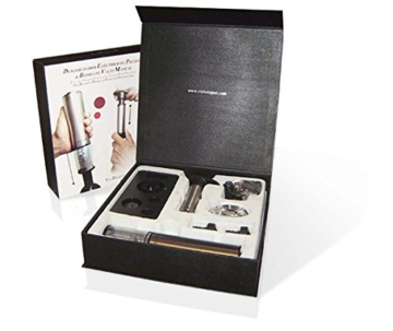 Vin Bouquet FI 002 Set - Elektrisches Korkenzieher-Set Deluxe, einschl. Pumpe mit zwei Verschlüssen und Portweinzange -