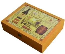 Wein Holzkiste (leer) 3-er mit SchmuckDeckel - Maße: L 35,0 x B 26,5 x H 9,0 cm -