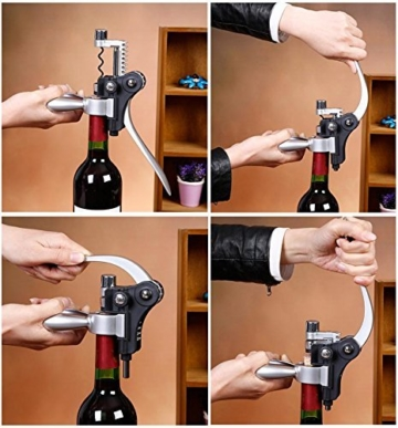 Wein Korkenzieher,Smaier Edelstahl-Rotwein-Flaschen-Öffner-Flügel Korkenzieher, Belüfter, Thermometer, Stopper und Zubehör-Set mit dunklem Kirschholz Case - 9 Stück -