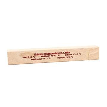 Wein Thermometer im Buchen Holz Etui . Weinthermometer Deutsche Herstellung mit Glas Hülse mit Analog Kunststoff Thermometer als Set -