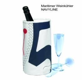 Weinkühler Wine Cooler für eine Flasche Wein Sekt oder Champagner - bester Softweinkühler in maritimem Design für 1 Flasche - Farbe: Weiß - Marineblau mit Trimmfaden - Kühler zum Anhängen -
