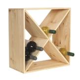 Weinregal aus Holz für 24 Flaschen - 48x48x23 cm - Stapelbares Flaschenregal-System aus FSC-zertifiziertem Echtholz -