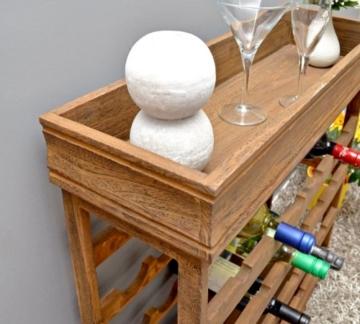Weinregal dunkelbraun für 24 Flaschen Flaschenregal Holz Wein Regal Board -