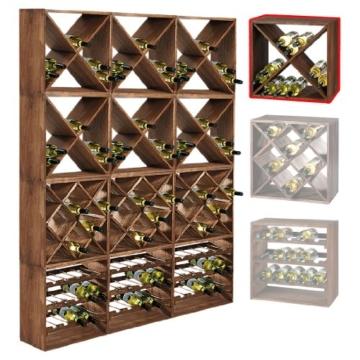 """Weinregal / Flaschenregal System CUBE 50, Modul 1 """"X"""" für 24 Fl., Holz Fichte, tobacco, stapelbar / erweiterbar - H 50 x B 50 x T 25 cm -"""