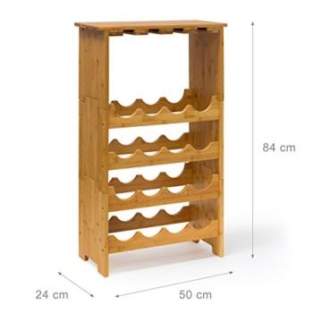Weinregal Standregal Flaschenregal 50x24x84cm Gläserregal Weinschrank 16 Flaschen und 12 Gläser Küchenregal Holzregal Bambusregal -