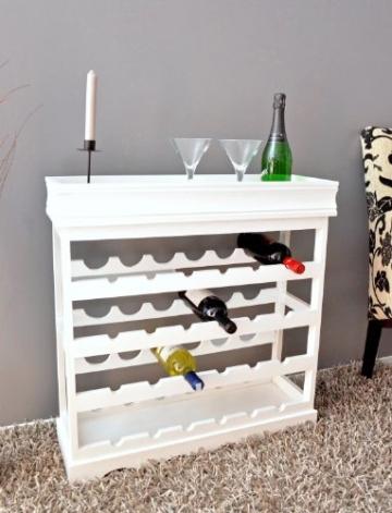 Weinregal Weiß für 24 Flaschen Flaschenregal weißes Holz Wein Regal Board -