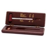 Weinthermometer im Holzetui mahagoni lackiert . Wein / Schnaps / Cognac / Sekt Thermometer Analog im Holz Etui -