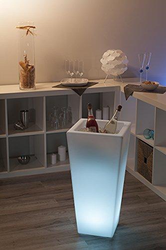 Wieder erhältlich - Tolle Geschenkidee - Großer LED Sektkühler eckig - Weinkühler - Edler Blickfang bei jeder Party - Feier - Jubiläum - beleuchteter LED Blumentopf - 77 x 37 x 37 cm - LED Flaschenkühler mit Farbwechsler - Sektkühler - LED Weinkühler - LED Getränkekühler - Kühler für Wasser, Wein, Sekt, Champagner, Saft - Sektkübel - Eiskübel - LED Eiswürfelbehälter - Blumentopf beleuchtet - schönes Geburtstagsgeschenk - Outdoor und Indoor -