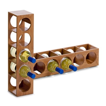 Zeller 13565 Weinregal 13.5 x 12.5 x 53 cm, Bamboo -